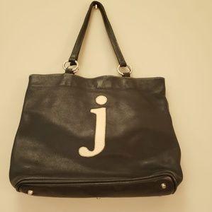 "Roots leather monogram letter ""J"" shopper tote"